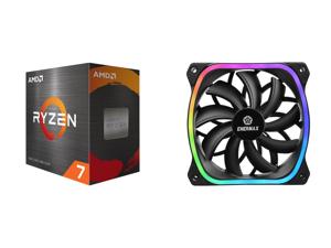 AMD Ryzen 7 5800X 8-Core 3.8 GHz Socket AM4 105W 100-100000063WOF Desktop Processor and Enermax Squa RGB PWM 120mm Case Fan Addressable RGB Sync Via Motherboard Single Pack - Black UCSQARGB12P-SG