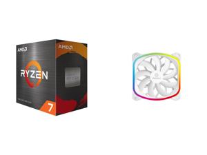 AMD Ryzen 7 5800X 8-Core 3.8 GHz Socket AM4 105W 100-100000063WOF Desktop Processor and Enermax SquA 120mm Dual Light Loop RGB LED PWN Fan Plug Play Single Pack - White UCSQARGB12P-W-SG