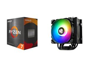 AMD Ryzen 7 5800X 8-Core 3.8 GHz Socket AM4 105W 100-100000063WOF Desktop Processor and Enermax ETS-T50 Axe Addressable RGB CPU Air Cooler 230W+ TDP for Intel/AMD Univeral Socket 5 Direct Contact Heat Pipes 120mm PWM Fan ETS-T50A-BK-ARGB