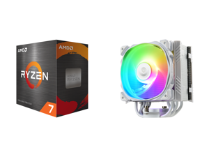 AMD Ryzen 7 5800X 8-Core 3.8 GHz Socket AM4 105W 100-100000063WOF Desktop Processor and Enermax ETS-T50 Axe Addressable RGB CPU Air Cooler 230W+ TDP for Intel/AMD Univeral Socket 5 Direct Contact Heat Pipes 120mm PWM Fan White: ETS-T50A-W-A