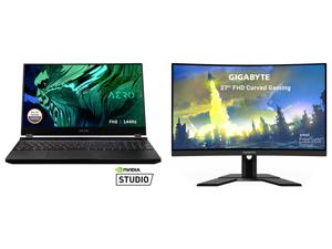 "GIGABYTE AERO 15 - 15.6"" - Intel Core i7-10870H - NVIDIA GeForce RTX 3070 Laptop GPU - 16 GB DDR4 - 512 GB SSD - Windows 10 Home - Gaming Laptop (AERO 15 XC-8US1130SH) and GIGABYTE G27FC 27"" 165Hz 1080P Curved Gaming Monitor 1920 x 1080 VA"