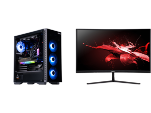 "ABS Legend Gaming PC - Intel i7 11700K - EVGA GeForce RTX 3090 FTW3 Ultra Gaming - G.Skill TridentZ RGB 32GB DDR4 3200MHz - 1TB Intel M.2 NVMe SSD - EVGA CLC 240MM RGB AIO and Acer EI272UR Pbmiiipx 27"" WQHD 2560 x 1440 2K 144Hz 3xHDMI Displ"