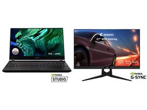 "GIGABYTE AERO 15 - 15.6"" - Intel Core i7-10870H - NVIDIA GeForce RTX 3070 Laptop GPU - 16 GB DDR4 - 512 GB SSD - Windows 10 Home - Gaming Laptop (AERO 15 XC-8US1130SH) and AORUS FI27Q-X 27"" 240Hz 1440P HBR3 G-SYNC Compatible SS IPS Gaming M"