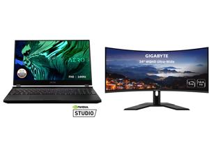 "GIGABYTE AERO 15 - 15.6"" - Intel Core i7-10870H - NVIDIA GeForce RTX 3070 Laptop GPU - 16 GB DDR4 - 512 GB SSD - Windows 10 Home - Gaming Laptop (AERO 15 XC-8US1130SH) and GIGABYTE G34WQC 34"" 144Hz Curved Gaming Monitor 3440 x 1440 VA 1500R"