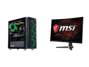 "ABS Legend Gaming PC - Intel i9 10850K - GeForce RTX 3090 - 32GB RGB DDR4 3200MHz - 1TB Intel M.2 NVMe SSD - 240MM RGB AIO and MSI Optix MAG27CQ 27"" 2560 x 1440 WQHD 2K Resolution 144Hz DisplayPort HDMI DVI AMD FreeSync Adaptive Sync Anti-F"
