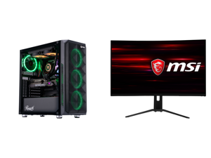 "ABS Legend Gaming PC - Intel i9 10850K - GeForce RTX 3090 - 32GB RGB DDR4 3200MHz - 1TB Intel M.2 NVMe SSD - 240MM RGB AIO and MSI Optix MAG322CQR 32"" (Actual size 31.5"") WQHD 2560 x 1440 (2K) 1ms (MPRT) 165Hz 2 x HDMI DisplayPort USB FreeS"