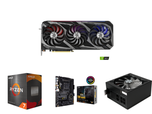 ASUS ROG Strix GeForce RTX 3090 DirectX 12 ROG-STRIX-RTX3090-O24G-GAMING 24GB 384-Bit GDDR6X PCI Express 4.0 x16 HDCP Ready SLI Support Video Card and AMD Ryzen 7 5800X 8-Core 3.8 GHz Socket AM4 105W 100-100000063WOF Desktop Processor and A