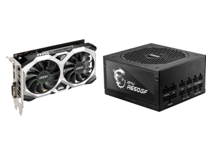 MSI Ventus GeForce GTX 1650 4GB GDDR6 PCI Express 3.0 x16 Video Card GTX 1650 D6 Ventus XS OC and MSI MPG A650GF 650W ATX 80 PLUS GOLD Certified Full Modular Active PFC Power Supply