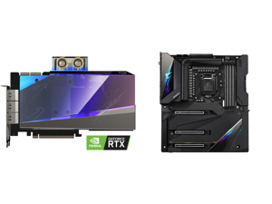 GIGABYTE AORUS GeForce RTX 3090 XTREME WATERFORCE WB 24G Graphics Card WATERFORCE Water Block Cooling System 24GB 384-bit GDDR6X GV-N3090AORUSX WB-24GD Video Card and GIGABYTE Z590 AORUS XTREME LGA 1200 Intel Z590 SATA 6Gb/s Extended ATX In