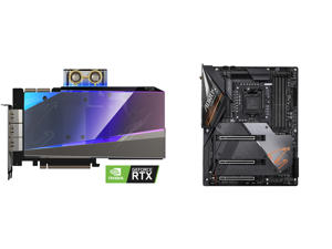 GIGABYTE AORUS GeForce RTX 3090 XTREME WATERFORCE WB 24G Graphics Card WATERFORCE Water Block Cooling System 24GB 384-bit GDDR6X GV-N3090AORUSX WB-24GD Video Card and GIGABYTE Z490 AORUS MASTER LGA 1200 Intel Z490 ATX Motherboard with Tripl