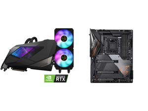 GIGABYTE AORUS GeForce RTX 3090 XTREME WATERFORCE 24G Graphics Card WATERFORCE All-in-One Cooling System 24GB 384-bit GDDR6X GV-N3090AORUSX W-24GD Video Card and GIGABYTE Z490 AORUS MASTER LGA 1200 Intel Z490 ATX Motherboard with Triple M.2