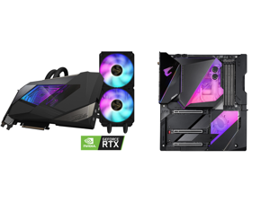 GIGABYTE AORUS GeForce RTX 3090 XTREME WATERFORCE 24G Graphics Card WATERFORCE All-in-One Cooling System 24GB 384-bit GDDR6X GV-N3090AORUSX W-24GD Video Card and GIGABYTE Z490 AORUS XTREME WATERFORCE LGA 1200 Intel Z490 E-ATX Motherboard wi