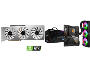 GIGABYTE GeForce RTX 3090 VISION OC 24GB Video Card GV-N3090VISION OC-24GD and GIGABYTE Z490 AORUS MASTER WATERFORCE LGA 1200 Intel Z490 SATA 6Gb/s ATX Intel Motherboard