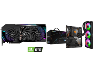 GIGABYTE AORUS GeForce RTX 3090 MASTER 24GB Video Card GV-N3090AORUS M-24GD and GIGABYTE Z490 AORUS MASTER WATERFORCE LGA 1200 Intel Z490 SATA 6Gb/s ATX Intel Motherboard