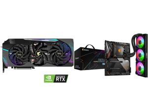 GIGABYTE AORUS GeForce RTX 3090 XTREME 24GB Video Card GV-N3090AORUS X-24GD and GIGABYTE Z490 AORUS MASTER WATERFORCE LGA 1200 Intel Z490 SATA 6Gb/s ATX Intel Motherboard