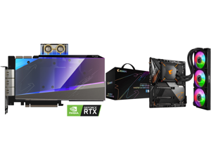 GIGABYTE AORUS GeForce RTX 3090 XTREME WATERFORCE WB 24G Graphics Card WATERFORCE Water Block Cooling System 24GB 384-bit GDDR6X GV-N3090AORUSX WB-24GD Video Card and GIGABYTE Z490 AORUS MASTER WATERFORCE LGA 1200 Intel Z490 SATA 6Gb/s ATX