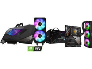 GIGABYTE AORUS GeForce RTX 3090 XTREME WATERFORCE 24G Graphics Card WATERFORCE All-in-One Cooling System 24GB 384-bit GDDR6X GV-N3090AORUSX W-24GD Video Card and GIGABYTE Z490 AORUS MASTER WATERFORCE LGA 1200 Intel Z490 SATA 6Gb/s ATX Intel