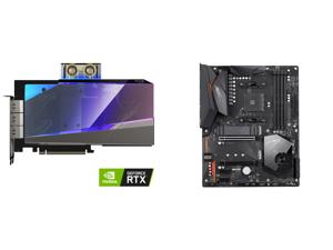 GIGABYTE AORUS GeForce RTX 3080 XTREME WATERFORCE WB 10G Graphics Card WATERFORCE Water Block Cooling System 10GB 320-bit GDDR6X GV-N3080AORUSX WB-10GD Video Card and GIGABYTE X570 AORUS ELITE AMD Ryzen 3000 PCIe 4.0 SATA 6Gb/s USB 3.2 AMD