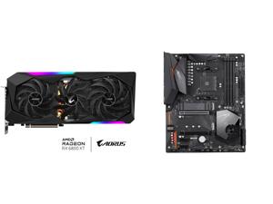 GIGABYTE AORUS Radeon RX 6800 XT MASTER 16G Graphics Card MAX-COVERED Cooling 16GB 256-bit GDDR6 GV-R68XTAORUS M-16GD Video Card and GIGABYTE X570 AORUS ELITE AMD Ryzen 3000 PCIe 4.0 SATA 6Gb/s USB 3.2 AMD X570 ATX Motherboard