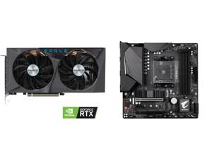 GIGABYTE GeForce RTX 3060 Ti EAGLE OC 8GB Video Card GV-N306TEAGLE OC-8GD and GIGABYTE B550M AORUS PRO AM4 AMD B550 Micro-ATX Motherboard with Dual M.2 SATA 6Gb/s USB 3.2 Gen 2 PCIe 4.0