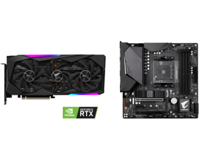 GIGABYTE AORUS GeForce RTX 3060 Ti MASTER 8GB Video Card GV-N306TAORUS M-8GD and GIGABYTE B550M AORUS PRO AM4 AMD B550 Micro-ATX Motherboard with Dual M.2 SATA 6Gb/s USB 3.2 Gen 2 PCIe 4.0