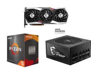 MSI Gaming Radeon RX 6800 16GB GDDR6 PCI Express 4.0 CrossFireX Support Video Card RX 6800 GAMING X TRIO 16G and AMD Ryzen 5 5600X 6-Core 3.7 GHz Socket AM4 65W 100-100000065BOX Desktop Processor and MSI MPG A750GF 750W ATX 80 PLUS GOLD Cer