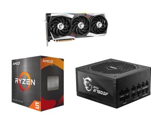 MSI Gaming Radeon RX 6900 XT 16GB GDDR6 PCI Express 4.0 x16 Video Card RX 6900 XT Gaming X Trio 16G and AMD Ryzen 5 5600X 6-Core 3.7 GHz Socket AM4 65W 100-100000065BOX Desktop Processor and MSI MPG A750GF 750W ATX 80 PLUS GOLD Certified Fu