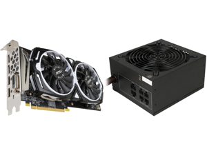 MSI Radeon RX 580 DirectX 12 RX 580 ARMOR 8G OC 8GB 256-Bit GDDR5 PCI Express x16 HDCP Ready CrossFireX Support Video Card and Rosewill CAPSTONE 650M 650W Modular Power Supply (80 PLUS GOLD Certified)