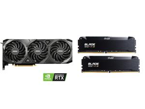 MSI Ventus GeForce RTX 3090 24GB GDDR6X PCI Express 4.0 SLI Support Video Card RTX 3090 VENTUS 3X 24G OC and OLOy Blade RGB 16GB (2 x 8GB) 288-Pin DDR4 SDRAM DDR4 3200 (PC4 25600) Desktop Memory Model ND4U0832162BRKDE