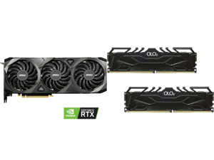 MSI Ventus GeForce RTX 3090 24GB GDDR6X PCI Express 4.0 SLI Support Video Card RTX 3090 VENTUS 3X 24G OC and OLOy 32GB (2 x 16GB) 288-Pin DDR4 SDRAM DDR4 3000 (PC4 24000) Desktop Memory Model MD4U163016CGDA