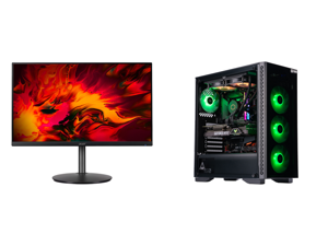 """Acer RX241Y Pbmiiphx 24"""" (23.8"""" Viewable) Full HD 1920 x 1080 1ms 144 Hz (165 Hz OC) 2 x HDMI DisplayPort AMD FreeSync Built-in Speakers Height Adjustable Gaming Monitor and ABS Gladiator Gaming PC - Intel i7 10700K - GeForce RTX 3080 - G.S"""