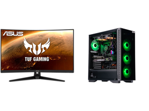 """ASUS TUF Gaming VG328H1B 31.5"""" Full HD 1920 x 1080 165Hz (OC) 1ms (MPRT) HDMI VGA Extreme Low Motion Blur FreeSync Flicker-Free Built-in Speakers Backlit LED Curved Gaming Monitor and ABS Gladiator Gaming PC - Intel i7 10700K - GeForce RTX"""