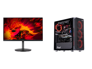 """Acer RX241Y Pbmiiphx 24"""" (23.8"""" Viewable) Full HD 1920 x 1080 1ms 144 Hz (165 Hz OC) 2 x HDMI DisplayPort AMD FreeSync Built-in Speakers Height Adjustable Gaming Monitor and ABS Gladiator Gaming PC - Intel i7 10700KF - GeForce RTX 3080 - G."""
