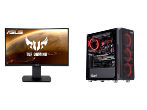 """ASUS TUF Gaming VG24VQ 24"""" Full HD 1920 x 1080 1ms MPRT 144Hz 2 x HDMI DisplayPort AMD FreeSync Asus Eye Care with Ultra Low-Blue Light Flicker-Free LED Height Adjustable Curved Gaming Monitor and ABS Gladiator Gaming PC - Intel i7 10700KF"""