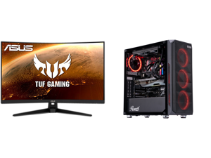 """ASUS TUF Gaming VG328H1B 31.5"""" Full HD 1920 x 1080 165Hz (OC) 1ms (MPRT) HDMI VGA Extreme Low Motion Blur FreeSync Flicker-Free Built-in Speakers Backlit LED Curved Gaming Monitor and ABS Gladiator Gaming PC - Intel i7 10700KF - GeForce RTX"""