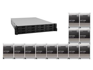 """Synology 12 bay RackStation RS3621RPxs (Diskless) and 12 x Synology HAT5300-12T Enterprise 12TB HDD SATA III 6Gb/s 512e 7200 RPM 256MB Cache 3.5"""" Internal Hard Drive"""