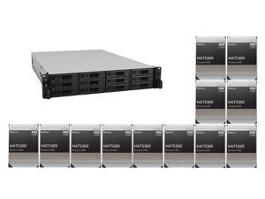 """Synology 12 bay RackStation RS3621xs+ (Diskless) and 12 x Synology HAT5300-12T Enterprise 12TB HDD SATA III 6Gb/s 512e 7200 RPM 256MB Cache 3.5"""" Internal Hard Drive"""