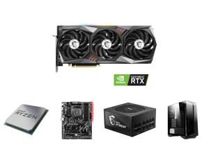 MSI Gaming GeForce RTX 3060 12GB GDDR6 PCI Express 4.0 Video Card RTX 3060 Gaming X Trio 12G and AMD RYZEN 7 3700X 8-Core 3.6 GHz (4.4 GHz Max Boost) Socket AM4 65W 100-100000071BOX Desktop Processor and MSI B450 TOMAHAWK MAX AM4 AMD B450 S