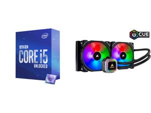 Intel Core i5-10600K 4.1 GHz LGA 1200 BX8070110600K Desktop Processor and CORSAIR Hydro Series H115i RGB PLATINUM 280mm 2 x ML PRO 140mm RGB PWM Fans RGB Lighting Fan Control w/ Software Liquid CPU Cooler. CW-9060038-WW. Support: Intel 1200