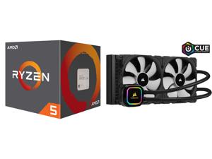 AMD RYZEN 5 2600 6-Core 3.4 GHz (3.9 GHz Max Boost) Socket AM4 65W YD2600BBAFBOX Desktop Processor and CORSAIR iCUE H115i RGB PRO XT 280mm Radiator Dual 140mm PWM Fans Software Control Liquid CPU Cooler CW-9060044-WW