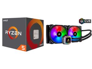 AMD RYZEN 5 2600 6-Core 3.4 GHz (3.9 GHz Max Boost) Socket AM4 65W YD2600BBAFBOX Desktop Processor and CORSAIR Hydro Series H115i RGB PLATINUM 280mm 2 x ML PRO 140mm RGB PWM Fans RGB Lighting Fan Control w/ Software Liquid CPU Cooler. CW-90