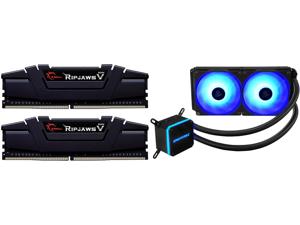 G.SKILL Ripjaws V Series 16GB (2 x 8GB) 288-Pin DDR4 SDRAM DDR4 3600 (PC4 28800) Intel XMP 2.0 Desktop Memory Model F4-3600C16D-16GVKC and Enermax LIQMAX III RGB 240 All-in-one CPU Liquid Cooler for AM4 / LGA1200 240mm Radiator Dual-Chamber