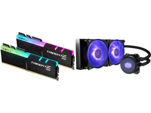 G.SKILL TridentZ RGB Series 32GB (2 x 16GB) 288-Pin DDR4 SDRAM DDR4 3200 (PC4 25600) Intel XMP 2.0 Desktop Memory Model F4-3200C16D-32GTZR and Cooler Master MasterLiquid ML240L RGB Close-Loop CPU Liquid Cooler 240mm Radiator Dual Chamber RG