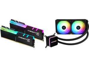 G.SKILL TridentZ RGB Series 32GB (2 x 16GB) 288-Pin DDR4 SDRAM DDR4 3200 (PC4 25600) Intel XMP 2.0 Desktop Memory Model F4-3200C16D-32GTZR and Enermax LIQMAX III ARGB 240 Addressable RGB All-in-one CPU Liquid Cooler for AM4 / LGA1200 240mm