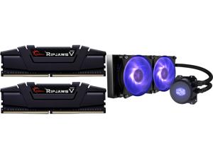 G.SKILL Ripjaws V Series 32GB (2 x 16GB) 288-Pin DDR4 SDRAM DDR4 3600 (PC4 28800) Intel XMP 2.0 Desktop Memory Model F4-3600C16D-32GVKC and Cooler Master MasterLiquid ML240L RGB Close-Loop CPU Liquid Cooler 240mm Radiator Dual Chamber RGB P
