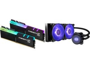 G.SKILL TridentZ RGB Series 32GB (2 x 16GB) 288-Pin DDR4 SDRAM DDR4 3600 (PC4 28800) Intel XMP 2.0 Desktop Memory Model F4-3600C16D-32GTZRC and Cooler Master MasterLiquid ML240L RGB Close-Loop CPU Liquid Cooler 240mm Radiator Dual Chamber R