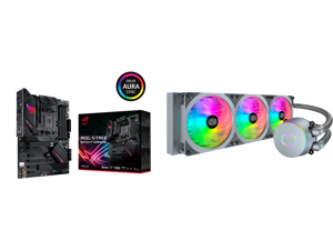ASUS ROG STRIX B550-F GAMING AM4 ATX AMD Motherboard and Cooler Master MasterLiquid ML360P Silver Edition ARGB Close-Loop AIO CPU Liquid Cooler 360 Radiator SF360R Fan Addressable RGB Lighting for AMD Ryzen Threadripper/Intel LGA1200/1151