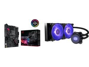 ASUS ROG STRIX B550-F GAMING AM4 ATX AMD Motherboard and Cooler Master MasterLiquid ML240L RGB Close-Loop CPU Liquid Cooler 240mm Radiator Dual Chamber RGB Pump Dual MF120R RGB Fans RGB Lighting for AMD Ryzen/Intel LGA1200/1151