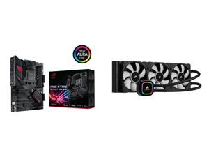 ASUS ROG STRIX B550-F GAMING AM4 ATX AMD Motherboard and CORSAIR iCUE H150i RGB PRO XT 360mm Radiator Triple 120mm PWM Fans Advanced RGB Lighting and Fan Control with Software Liquid CPU Cooler