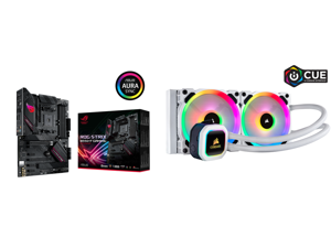 ASUS ROG STRIX B550-F GAMING AM4 ATX AMD Motherboard and Corsair Hydro Series H100i RGB PLATINUM SE 240mm Radiator Dual LL120 RGB PWM Fans Advanced RGB Lighting and Fan Control with Software Liquid CPU Cooler. (CW-9060042-WW)